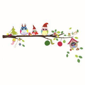 Fashionable Cartoon Owl Family Pattern Removeable Wall Stickers - COLORMIX