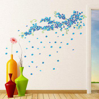 Stylish Blue Plum Blossom Pattern Removeable Wall Stickers - BLUE
