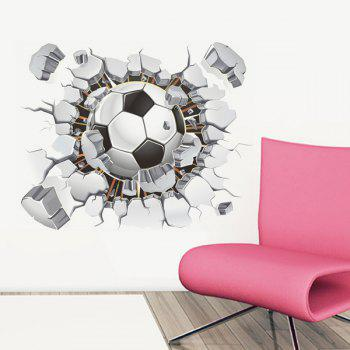Chic Quality 3D Football Broken Wall Pattern Removeable Wall Stickers - COLORMIX