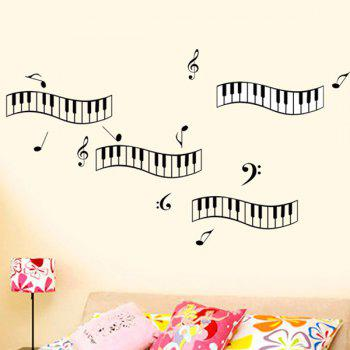 Stylish Piano Keyboard Notes Pattern Removeable Wall Stickers