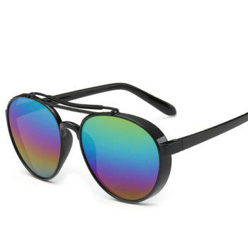 Chic Metal Frame Rainbow Color Lenses Women Aviator's Black Sunglasses - BLACK BLACK