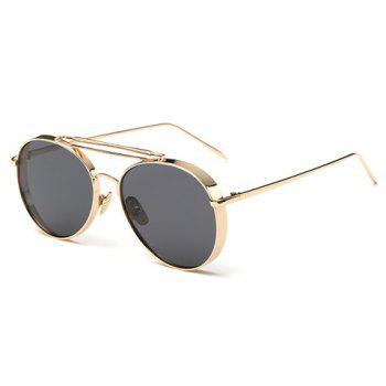 Chic Thick Rims Women Aviator's Golden Sunglasses - DEEP GRAY DEEP GRAY