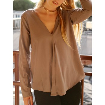 Chic V Neck Long Sleeve Asymmetrical Pure Color Women's Blouse