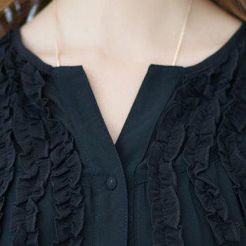 Fashionable Buttoned Short Sleeve Ruffled Women's Blouse - BLACK 3XL