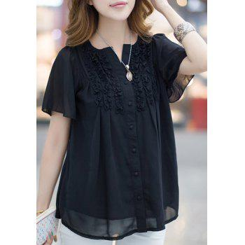 Fashionable Buttoned Short Sleeve Ruffled Women's Blouse