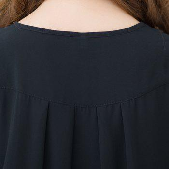 Fashionable Buttoned Short Sleeve Ruffled Women's Blouse - BLACK XL