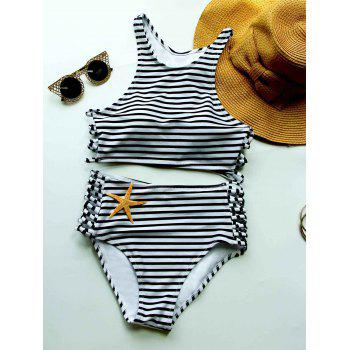 Stylish High Women's Neck Sola Striped Bikini Set