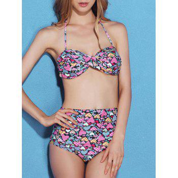 Sweet Women's Heart Print High Waisted Bikini Set