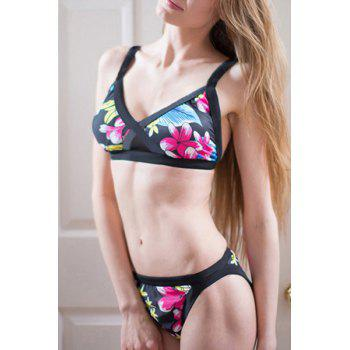 Sexy Flower Print Push Up Bikini Set For Women