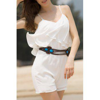 Fashion Spaghetti Strap Flouncing Women's Solid Color Romper