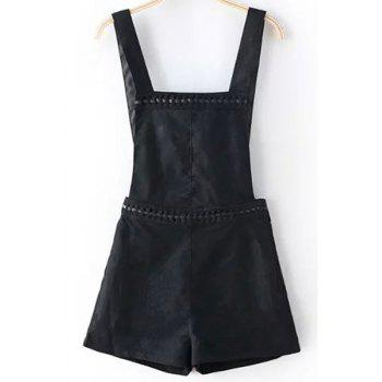 Fashion Suede Solid Color Overall Shorts For Women