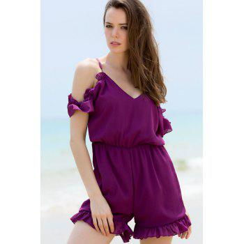 Stylish Plunging Neck Short Sleeve Solid Color Cold Shoulder Women's Romper