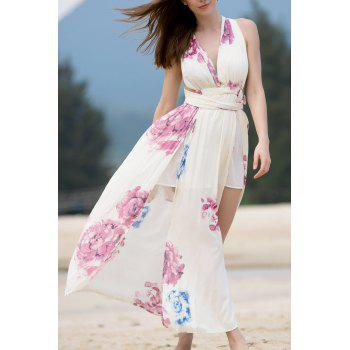 Elegant Floral Print High Slit Self-Tie Women's Convertible Dress