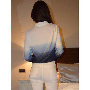 Stylish Women's V-Neck Long Sleeve Gradient Color Blouse - BLUE M