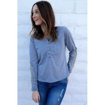Casual Lace Splicing Scoop Neck Long Sleeve T-Shirt For Women - LIGHT BLUE M