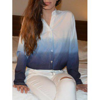 Stylish Women's V-Neck Long Sleeve Gradient Color Blouse - BLUE XL