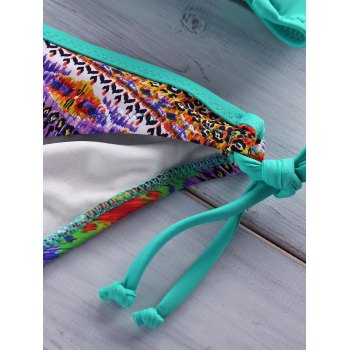 Ethnic Style Halter Push-Up Printed Beaded Women's Bikini Set - MINT GREEN M