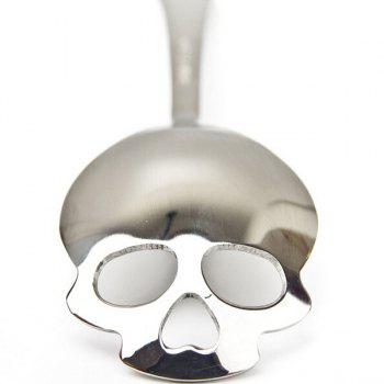 High Quality Tableware Skull Shape Hollow Stainless Steel Coffee Spoon - SILVER