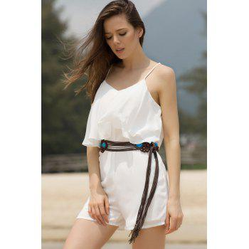 Solid Color Romper Fashion Spaghetti Strap flouncing femmes - Blanc L