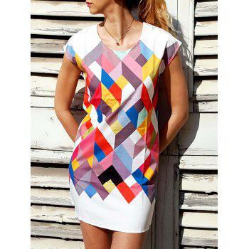 chic short sleeve scoop collar geometric print women's dress