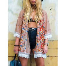 Stylish Collarless Long Sleeve Floral Print Laciness Women's Kimono Blouse