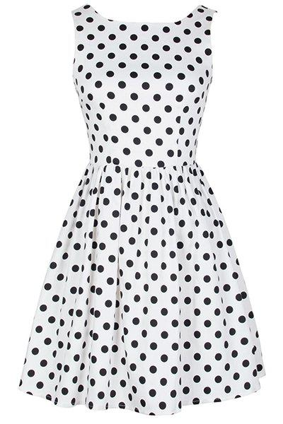 Retro Polka Dot Sleeveless Round Neck Women's Dress - WHITE L