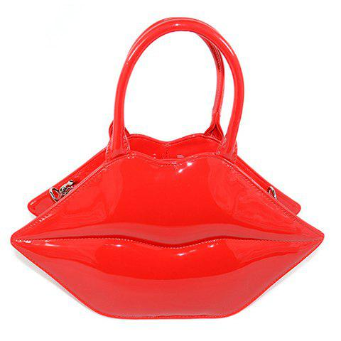 Stylish Lip Shape and Patent Leather Design Women's Tote Bag - RED