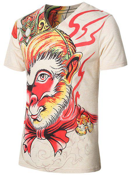 Trendy The Monkey King Printed V-Neck Plus Size T-Shirt For Men