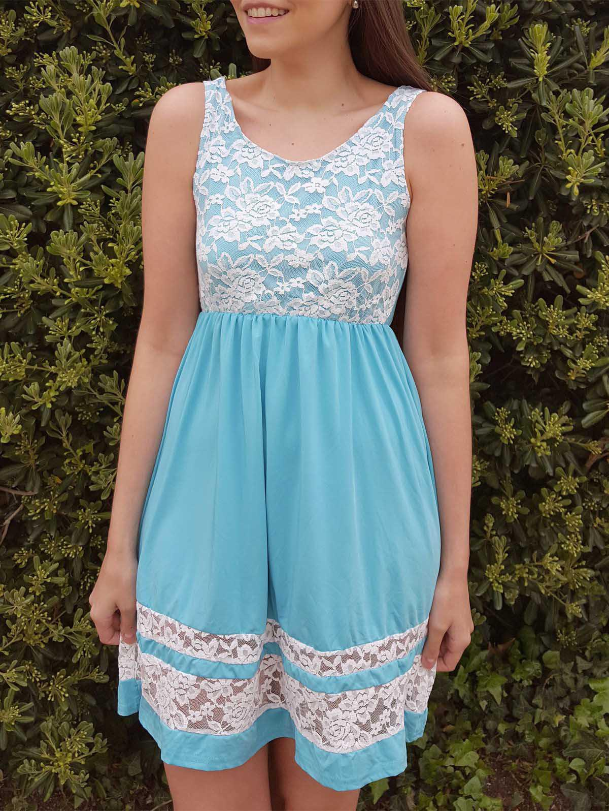 Refreshing Sleeveless Scoop Collar Lace Spliced Color Block Women's Sundress - AZURE S