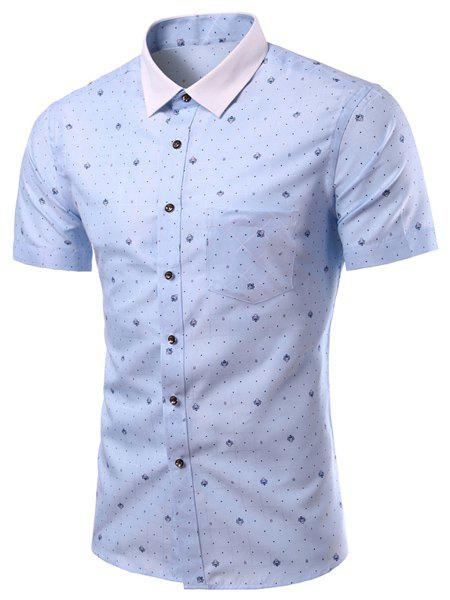 Plus Size Shirt Collar One Pocket Color Block Short Sleeves Men's Printed Shirt - LIGHT BLUE 3XL