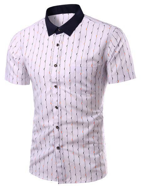 Vogue Shirt Collar Special Stripes Long Sleeves Men's Plus Size Shirt - WHITE 3XL