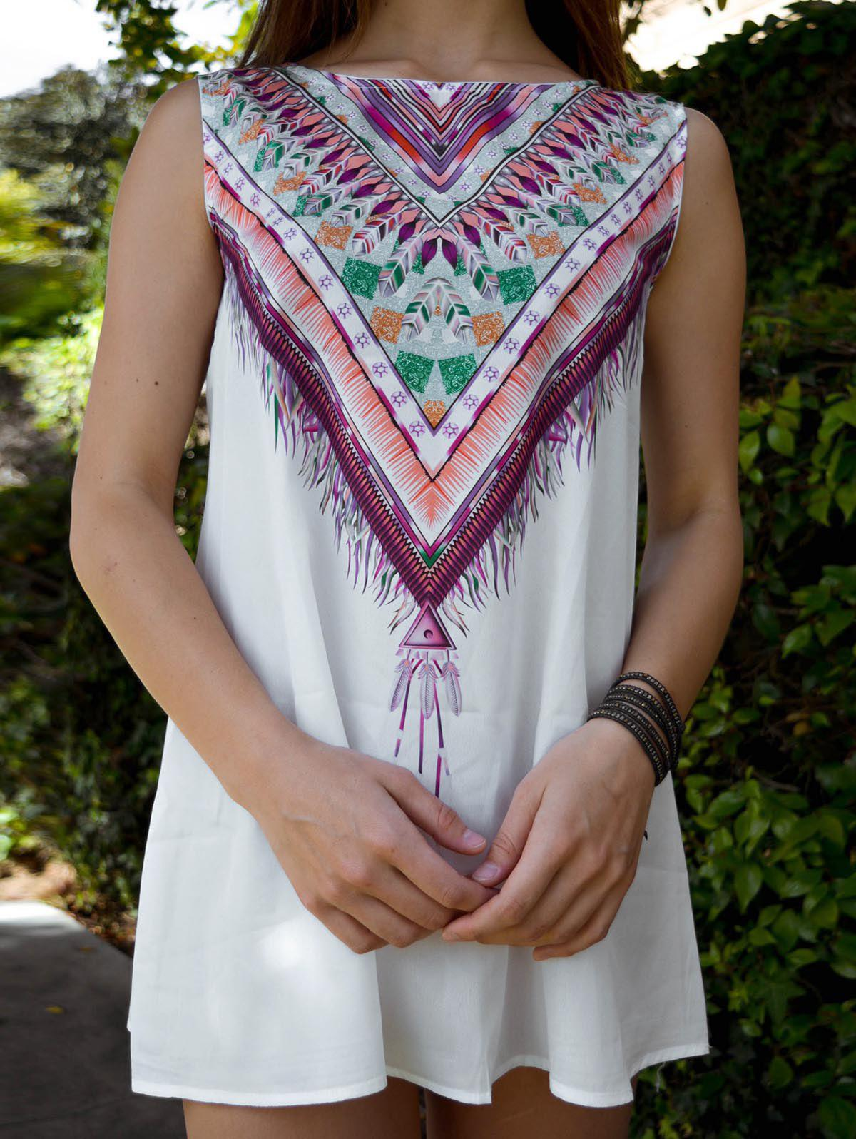 Ethnic Style Sleeveless Scoop Neck Printed A-Line Women's Tribal Dress - WHITE S
