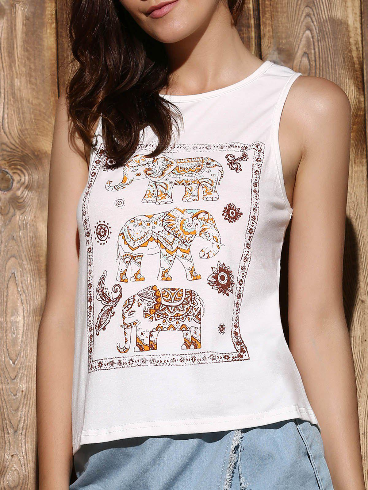 Trendy Women's Scoop Neck Sleeveless Elephant Print High Low Tank Top