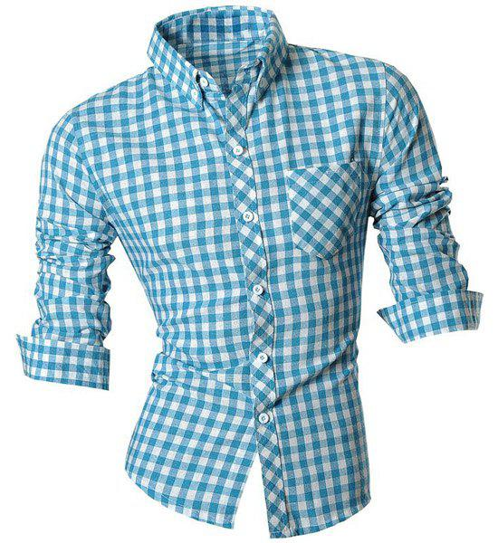 Slimming Shirt Collar One Pocket Plaid Print Long Sleeves Men's Button-Down Shirt - LIGHT BLUE M
