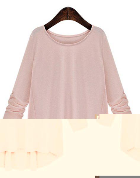 Trendy Women's Scoop Neck Bowknot Embellished Long Sleeves T-Shirt - PINK 2XL