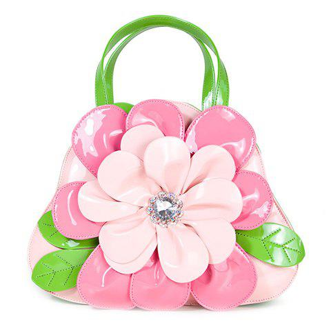 Sweet Flower and Color Block Design Women's Tote Bag - PINK