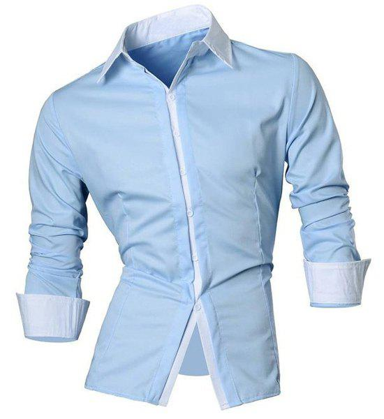 Vogue Shirt Collar Color Block Button Fly Slimming Men's Long Sleeves Shirt - BLUE M