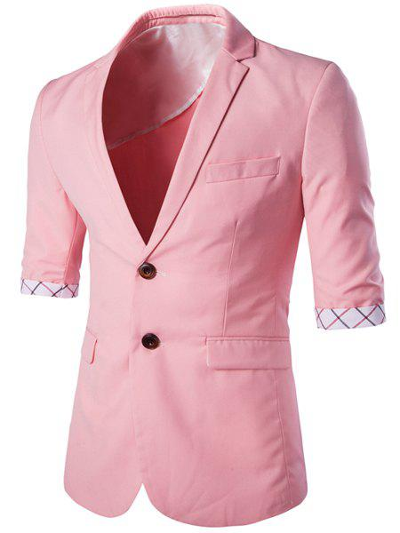 Single Breasted Lapel Checked Hemming Three-Quarter Sleeves Men's Blazer - PINK L