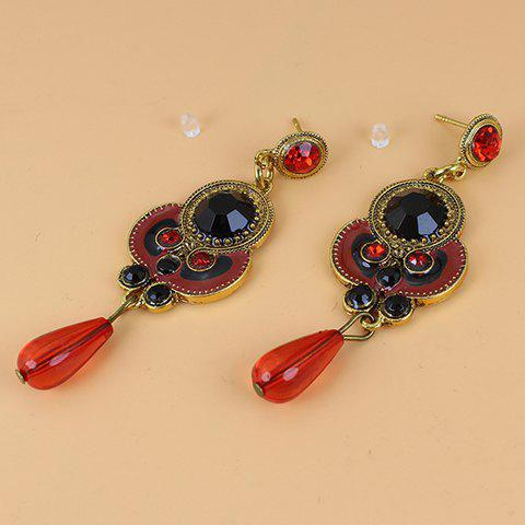 Pair of Bohemia Rhinestone Beads Decorated Drop Earrings For Women