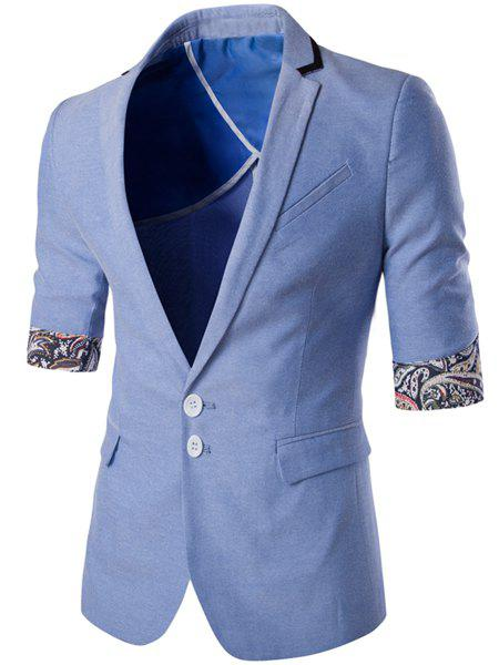 Single Breasted Lapel Paisley Hemming Three-Quarter Sleeves Men's Blazer - LIGHT BLUE M