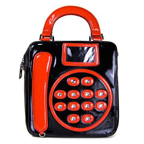 Trendy Telephone Pattern and Rhinestone Design Women's Tote Bag - RED/BLACK