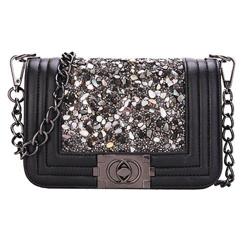 Trendy Mini Stone and Hasp Design Women's Crossbody Bag - BLACK