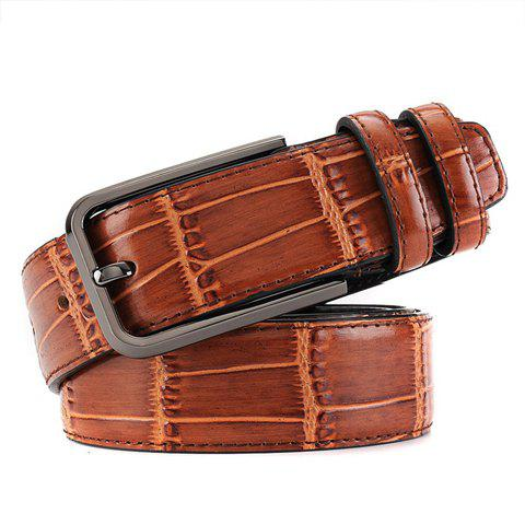 Stylish Pin Buckle Block Textured Surface Men's Wide Belt - COFFEE