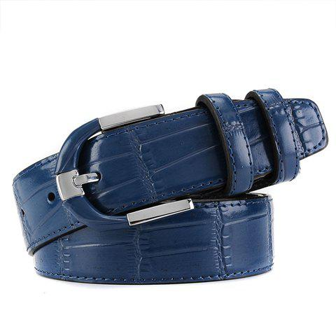 Stylish Pin Buckle Solid Color Block Textured Surface Men's Wide Belt - DEEP BLUE