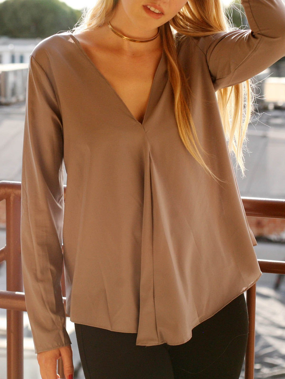 Chic V Neck Long Sleeve Asymmetrical Pure Color Women's Blouse - GRAY S