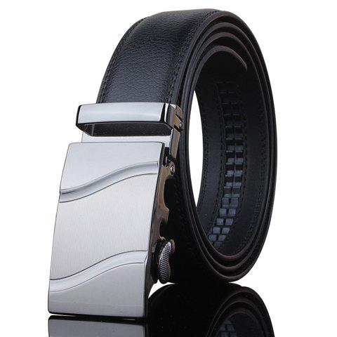 Stylish Wavy Stripe Shape Embellished Metal Buckle Men's Black Wide Belt - BLACK