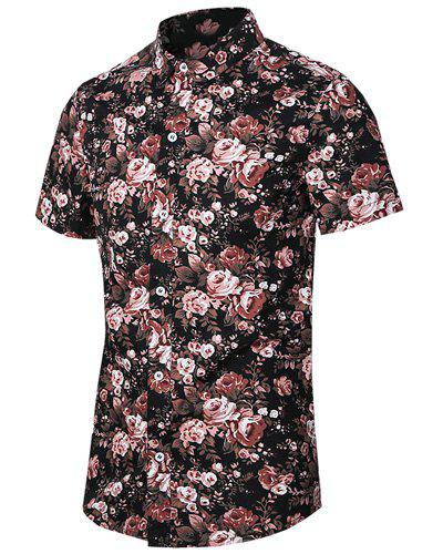 Flowers Printing Turn Down Collar Plus Size Shirt For Men