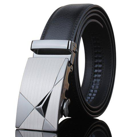 Stylish Triangle Shape Embellished Metal Buckle Men's Black Wide Belt - BLACK