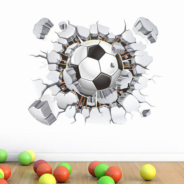 Chic Quality 3D Football Broken Wall Pattern Removeable Wall Stickers chic hand painted chandelier pattern removeable wall stickers