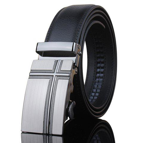 Stylish Slender Cross Shape Embellished Metal Buckle Men's Black Wide Belt